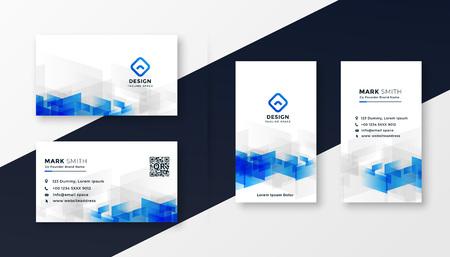 Illustration pour abstract white and blue business card template set - image libre de droit