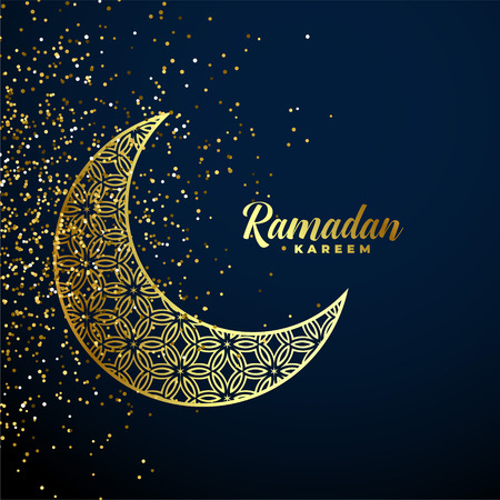 Illustration for golden decorative moon with glitter ramadan kareem background - Royalty Free Image