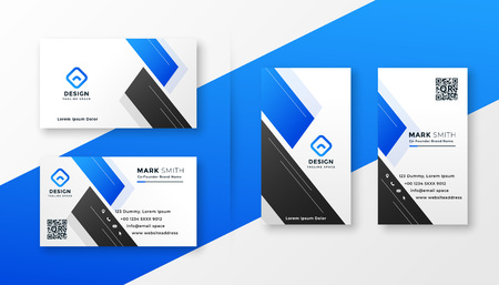 Ilustración de clean blue business card stylish design - Imagen libre de derechos