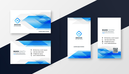 Illustration pour creative blue abstract business card design - image libre de droit