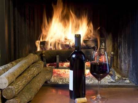 Photo pour celebrate with a glass of wine, a bottle, in front of a fireplace - image libre de droit