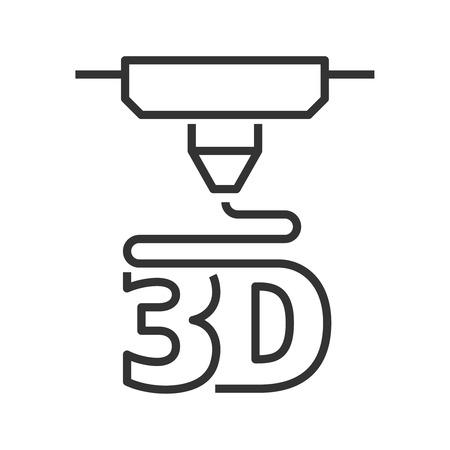 Illustration pour 3D printer line style icon - image libre de droit
