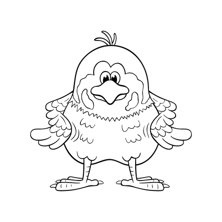 Illustration pour Black and white illustration of funny cartoon sparrow with wings akimbo. - image libre de droit