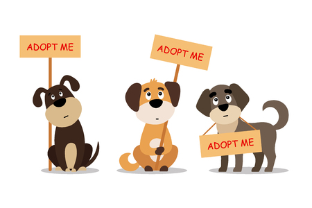 Illustrazione per Set of cute dogs with Adopt me sign. - Immagini Royalty Free
