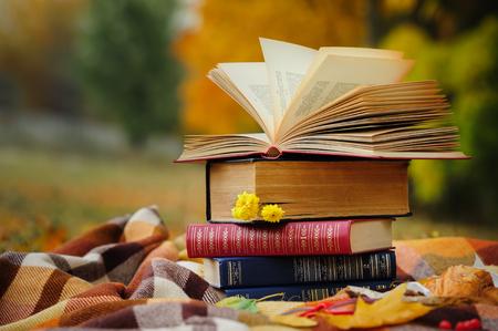 Photo pour Romantic autumn still life with stacked books, plaid, croissant and leaves - image libre de droit