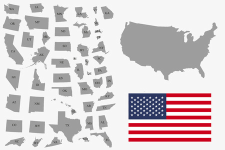 Illustration pour Set  of gray USA states on white background - vector illustration. Simple flat map - United States. USA flag, general map and all states individually. - image libre de droit