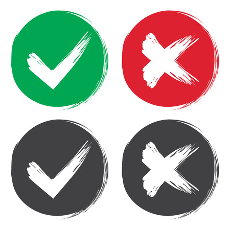 Illustration pour Tick and cross brush signs. Green checkmark OK and red X icons, isolated on white background. Simple marks graphic design. Symbols YES and NO button for vote, decision, web. Vector illustration - image libre de droit