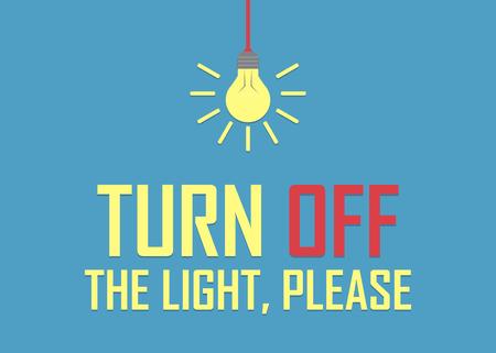 Illustration pour Turn off the light, please background in a flat design. - image libre de droit