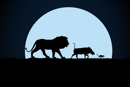 Illustration pour Lion, warthog and woodchuck silhouette on a moon background - image libre de droit