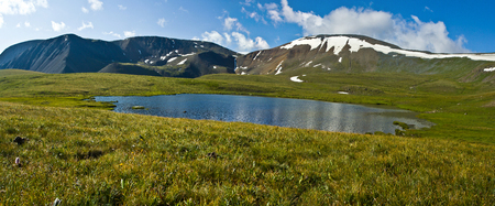 Photo for Beautifull valley with view to mountains and  turquoise  lake in Altaj, Russia  at the summer - Royalty Free Image