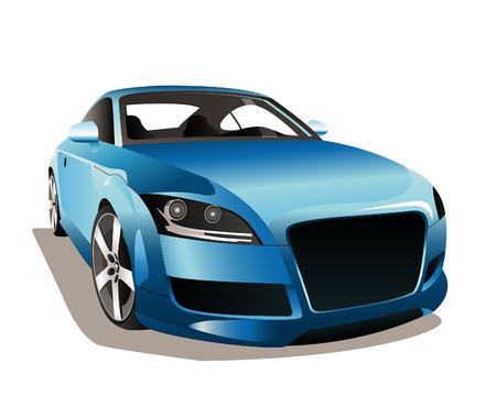 Illustration pour The image of a sports blue car on a white background. - image libre de droit