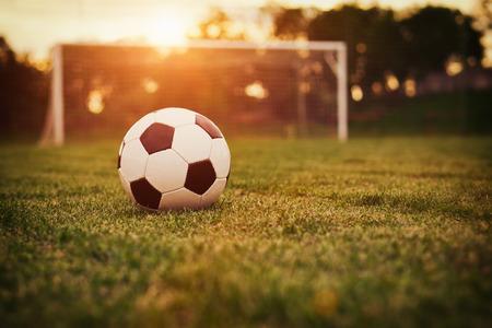 Photo pour Soccer in the sunset - image libre de droit