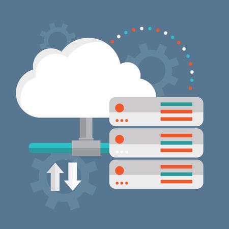 Illustration pour Cloud Computing  Cloud data storage. - image libre de droit