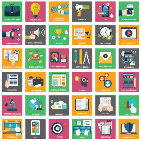 Illustration pour Icons of digital marketing, video advertising, social media campaign, newsletter promotion, pay per click service, website seo optimization - image libre de droit