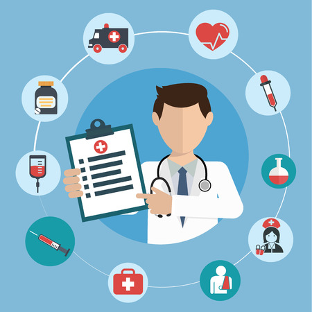 Illustration pour Doctor with medical icons in a circle. - image libre de droit