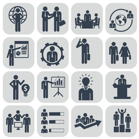 Photo pour Human resources and management icons set. - image libre de droit