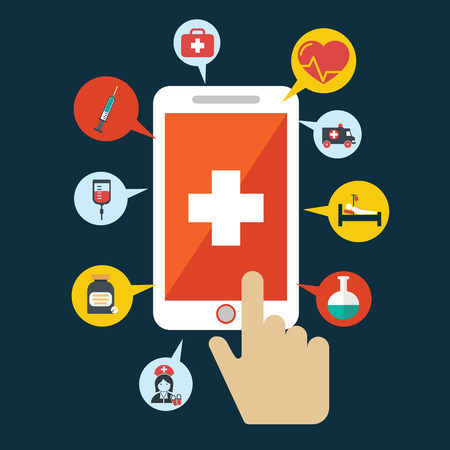 Foto de Health application on a smartphone. Open with hand cursor. Vector icon - Imagen libre de derechos