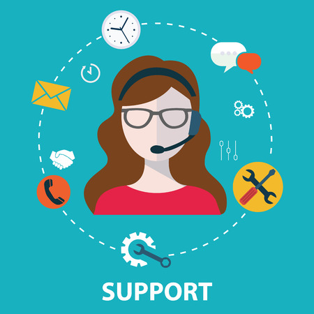 Ilustración de Business customer care service concept flat icons set  - Imagen libre de derechos
