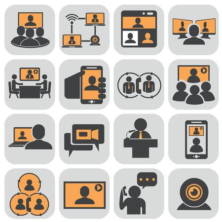 Illustration pour Business communication. Video conference. - image libre de droit