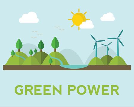 Ilustración de Renewable energy like hydro, solar, geothermal and wind power generation facilities - Imagen libre de derechos
