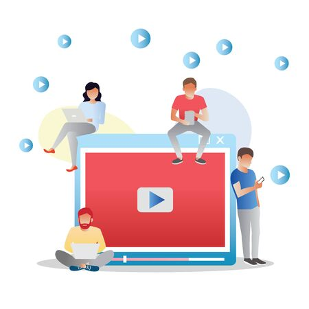 Ilustración de Video concept illustration of young people using mobile gadgets, tablet pc and smartphone for live watching a video via internet. Flat design of guys and women staying near big player symbol - Imagen libre de derechos