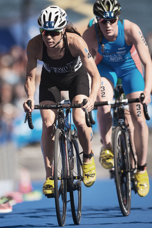 STOCKHOLM, SWEDEN - AUG 26, 2017: Andrea Hewitt (NZL) cycling in the womens ITU triathlon series. Female Olympic distance.