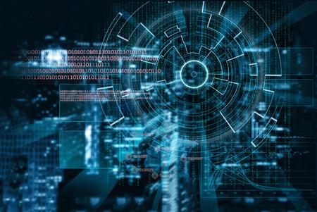 Foto de cyber laser target on a night city blurred background - Imagen libre de derechos