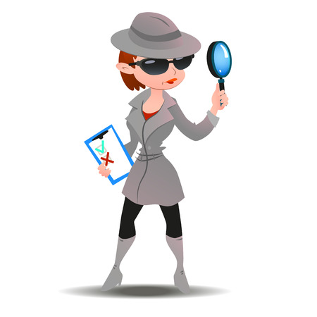 Illustration pour Mystery shopper woman in spy coat, boots, sunglasses and hat with magnifier and checklist. Full-length vector. - image libre de droit