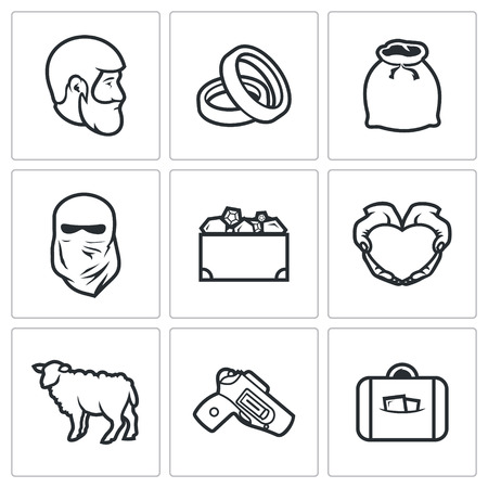 Illustration pour Vector Isolated Flat Icons collection on a white background for design - image libre de droit