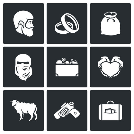 Illustration pour Vector Isolated Flat Icons collection on a black background for design - image libre de droit