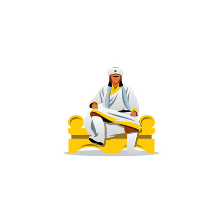 Illustration pour A man in a white fur clothes sits on a throne with his legs crossed - image libre de droit