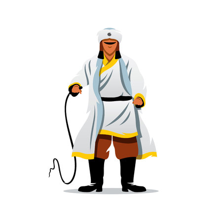 Illustration pour The man in white fur clothing brandishing a whip. Isolated on a white background - image libre de droit