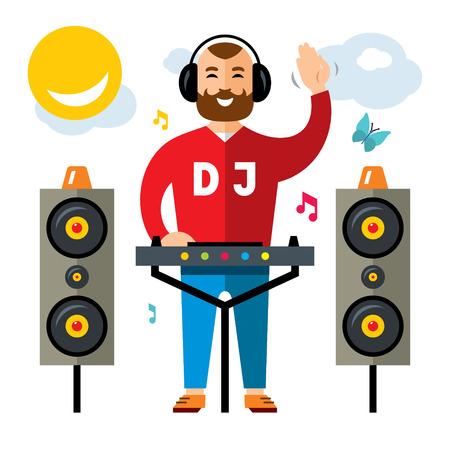 Illustration pour Vector DJ Flat style colorful Cartoon illustration. - image libre de droit