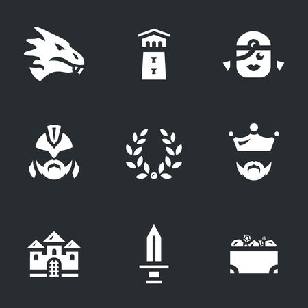 Illustration pour Vector Set of Dragon story Icons. - image libre de droit