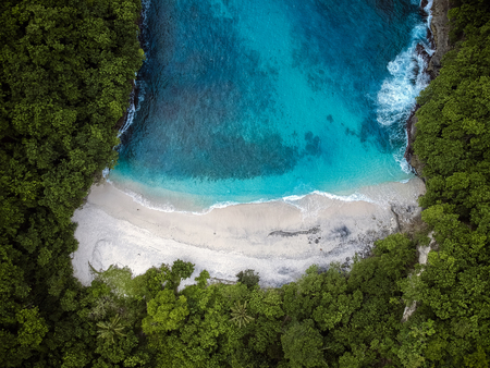 Photo for beautiful secluded beach with blue sea.the view from the top - Royalty Free Image