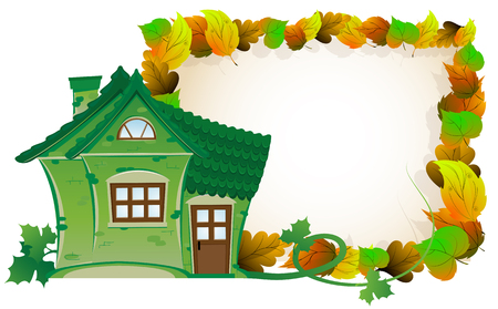 Illustration pour House with tiled roof on background of autumn leaves - image libre de droit