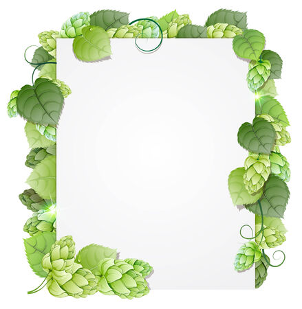Illustration for Green hops branch on white background. Abstract floral frame - Royalty Free Image