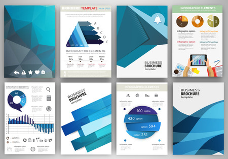 Foto de Abstract vector backgrounds and brochures for web and mobile applications. Business and technology infographic, icons, creative template design for presentation, poster, cover, booklet, banner. - Imagen libre de derechos
