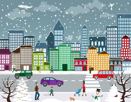 Illustration pour Winter Christmas urban landscape. View of city street with industrial buildings and shopping centers. Roadway with car traffic and pedestrians on the sidewalk in the foreground - image libre de droit