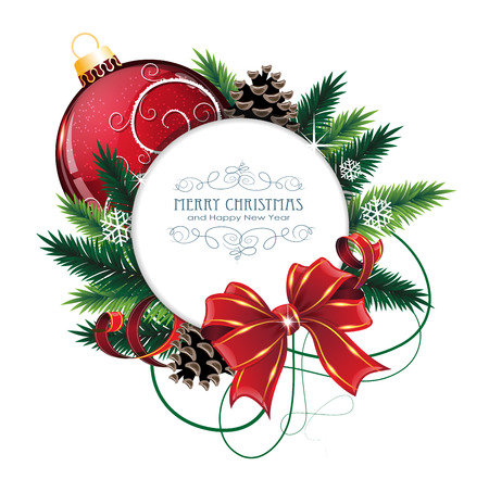 Illustration for Christmas ornaments with bow, ribbon and fir tree branches on white background.  Christmas card with round place for text - Royalty Free Image
