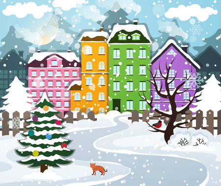 Illustration pour Winter town covered with snow. Houses with snow-covered roofs. Christmas tree with ornaments. - image libre de droit