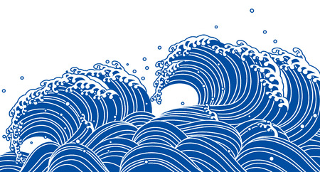 Illustration pour Blue wave, Japanese style - image libre de droit