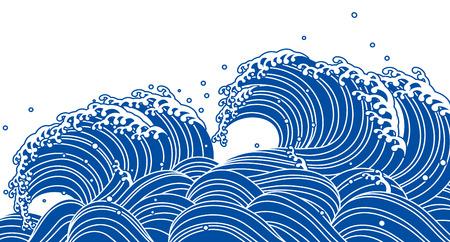 Ilustración de Blue wave, Japanese style - Imagen libre de derechos