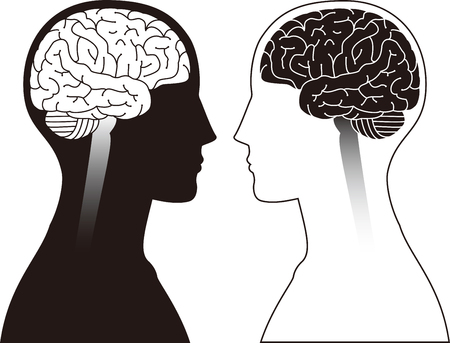 Illustration pour two human brains with black - image libre de droit