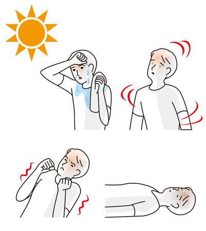 Illustrazione per Symptoms of heat stroke illustration. - Immagini Royalty Free