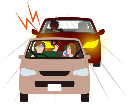Illustrazione per Couple being cautious at a motor vehicle with dangerous tracking. Vector material. - Immagini Royalty Free