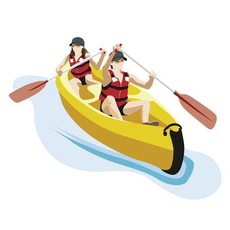 Illustration pour canoeing with two persons - image libre de droit