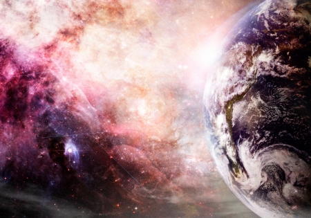 Photo pour Artist rendition of Earth and galaxy at creation  - image libre de droit
