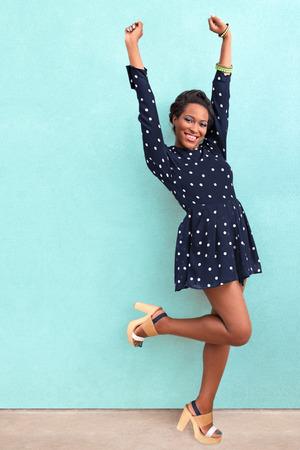Happy summer African American woman