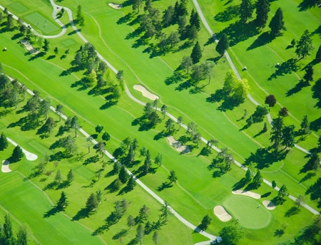 Golf Course in the Late Afternoon - Aerial mural